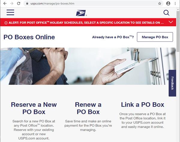 USPS Website PO Box page.