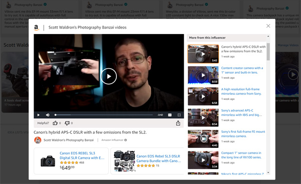 A screenshot of Amazon's website of my creator hub influencer page.